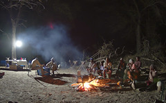 Okavango camp at night (nisudapi) Tags: 2018 africa botswana okavango delta okavangodelta camp campsite campfire night nighttime fourinarow smoke dark