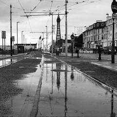Tachwedd / November - Blackpool (Rhisiart Hincks) Tags: townscape treflun blackpool bw duagwyn puddle pwll water dŵr tramway tramffordd lloegr england sasana brosaoz ingalaterra angleterre inghilterra anglaterra 英国 angletèrra sasainn انجلتــرا anglie ngilandi ue eu ewrop europe sirgaerhirfryn lancashire eòrpa europa fylde cyrchfangwyliau holidayresort powsows glaw glav euri rain pluie uisge báisteach lluvia pluvo eső regen дождь fearthainn bailedhreach gweledvakêr paysageurbain paisajeurbano stadtbild городскойпейзаж міськийпейзаж kaupunkikuvaan pilsētasainava miestovaizdis obrazměsta stadsbeeld 市容 都市の風景 peisajuluiurban gwennhadu dubhagusgeal blackandwhite zuribeltz blancetnoir blackwhite