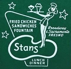 Vintage Matchbook Cover - Stan's Drive-In - Fresno, Calif. (hmdavid) Tags: vintage matchbook cover stans drivein fresno california carhop 1950s midcentury art illustration