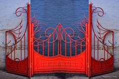 The Red Gate (Little Hand Images) Tags: wroughtiron gate redpaint ornate brickwall chinatown dc