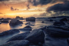 Rocks and sunset (bjorns_photography) Tags: landscape view rock sunset sunlight clouds golden rocks ocean seascape photography canon 6d sea sky mountain water bay sand beach