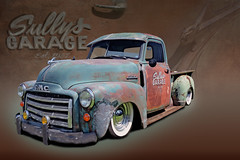 Sully's Garage (Brad Harding Photography) Tags: gmc generalmotorscorporation truck pickup pickuptruck utility antique classic vintage whitewalls ratrod customized restoration restored tracey missouri greaserama plattecountyfairgrounds rust patina collage ive