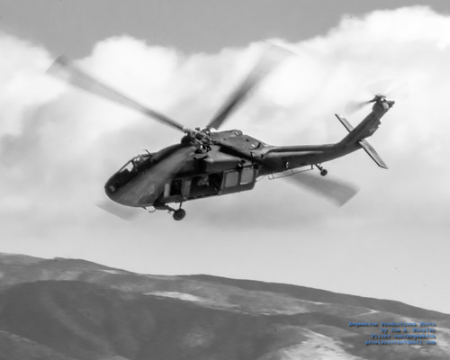 Idaho National Guard Black Hawk in Black & White