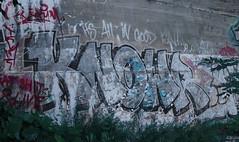 Railway Graffiti, Peeling Paint (Coastal Elite) Tags: train tracks railroad graffiti underpass overpass concrete walls wall halifax novascotia atlantic canada rail railway rails knowr chemindefer trains ferroviaire street urban art spray paint transport maritimes canadian flaky flaking flaked damaged old disappearing peeled peeling