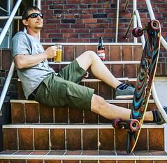 After Ride Beer on the stairs (t.hei) Tags: stairs beer bier treppen longboard skate selfie
