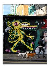 STREET ART by ROWDY BC (StockCarPete) Tags: rowdybc streetart londonstreetart urbanart graffiti pointing bricklane shoreditchart london uk wallart dogs