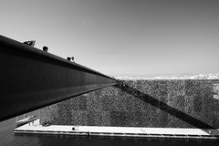 Bridge of Mucem (sebastienvillain) Tags: fujifilm fuji fujifeed xe2 xseries xf18mm noiretblanc noir blanc blackandwhite bw nb monochrome architecture bridge pont