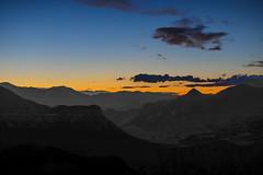 Absaroka Twilight (wyojones) Tags: wyoming absarokamountains shoshonenationalforest chiefjosephhighway parkcounty peak mountains sunset summit light basin twilight neardusk ranchlights deadindiansummit wyojones np