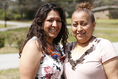 Fabiola Galan, left, and her mother, Abila, right, pose for a portrait in Robinson Park. The mother-daughter duo have lived in Greensboro for more than 25 years.