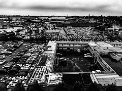 Landscape Newark NJ (ScottElliottSmithson) Tags: landscape industrial dtwpuck monochrome scottelliottsmithson newark newjersey newjerset scottsmithson iphone sky city industriallandscape parking parkinglot crowneplaza blackandwhite bw