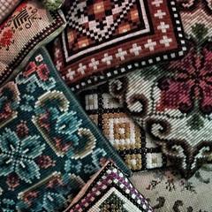Embroidered (Anne Worner) Tags: anneworner canonpowershotg12 norwegian closeup crossstitch embroidery klostersøm needlework pillows square stilllife linen wool thread stitches craft handwork
