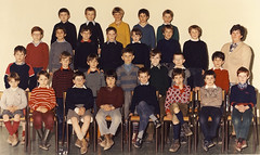Class photo (theirhistory) Tags: jumper jacket trousers wellies school class form pupils boy children kids shorts rubberboots