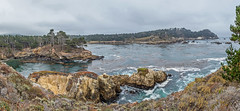 Panoramic: Point Lobos: The Pit (mon_ster67) Tags: pointlobosstatereserve whalerscove pointlobos pointlobosnaturalreserve ca ocean cacoast westcoast seascape mon ©mon canon sigma overcast panorama panoramic coastline pch hike hiking trail thepit granitepointtrail coalchutepoint cannerypoint montereyca monterey