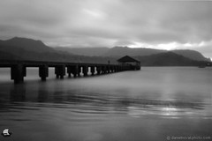 Pinhole Photography: Hanalei Bay Pier (ZER_0029) (masinka) Tags: etbtsy pinhole photography film analog blackandwhite bw ilford panf xtol seaside landscape hanalei bay pier hawaii kauai moody longexposure outdoors lensless