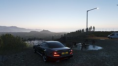 As far as the lady can see (alexandriabrangwin) Tags: alexandriabrangwin first life xbox one forza horizon 4 england uk mountain hill top parked car black mercedes benz sl65 amg v12 personalized number plate epic view dawn ford transit van white park benches picnic tables lightpost