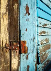 The Rusted Hinge (Katrina Wright) Tags: dsc2154 hinge rust texture bue panels wood paint decay peeling