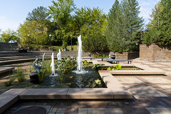 Pond, Parking Space and Benches (fulldeckvisuals) Tags: fountains water benches park