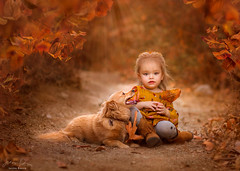 Fall Friends ({jessica drossin}) Tags: jessicadrossin portrait child kid dog pup puppy baby toddler girl friends pet pets fall autumn path season orange love leaf leaves pretty wwwjessicadrossincom