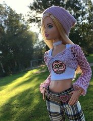 Teen Fashion Scene. (dolldudemeow24) Tags: barbie fashionistas number 22 chambray chic doll 2016 blonde hair checkered pants pink vest beanie croptop white chocker fall autumn fashion collcection trees blue sky sunny sunlight morning grass forest park plants swingset 2018