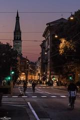 Pedalando al tramonto (Luca Nacchio) Tags: via emilia modena tramonto ghirlandina torre sera bici sunset tower evening bike street italia italy bellissimo beautiful