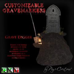 ღ ♡  Gravemarkers - Grave Digger Lt by Page Creations™ ♡ ღ (Raven Page) Tags: halloween props decor mesh spooky scary fog pumpkins gothic goth