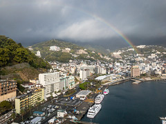 180406 Atami-01.jpg (Bruce Batten) Tags: atmosphericphenomena automobiles boats buildings cloudssky honshu japan locations northpacificocean occasions oceansbeaches plants rainbows sagamibay shizuoka subjects trees trips urbanscenery vacations vehicles