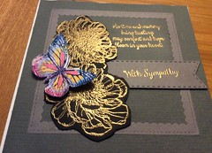 Sympathy Cards (margaret.pilkington47) Tags: handmade sympathycard flowers heatembossed butterfly sombre colours