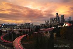 Seattle Sunset from Jose Rizal Bridge (MICHAEL A SANTOS) Tags: cityscapes compositephotography leefilter leefilters lighttrails longexposure michaelasantos nightphotography saintsphotography seattle slowshutter sony sonyalpha