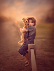 Best Friends ({jessica drossin}) Tags: jessicadrossin portrait photography boots boy dog childhood friends pet pets puppy kid fence rail road summer wwwjessicadrossincom