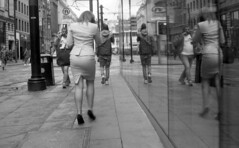 Double (4foot2) Tags: manchester manchesterpeople people peoplewatching interestingpeople candid candidportrate reportagephotography reportage city reflection girl tight tightskirt skirt splitskirt highheels killerheels stilettos legs sexy sexygirl window analogue film filmphotography 35mmfilm 35mm bw blackandwhite monochrome mono oldfilm outofdatefilm expiredfilm experimental 2484 kodak2484 kodak hc110 kodakhc110 asahipentax asahi asahipentaxspotmaticsp spotmatic spotmaticsp sp takumar supertakumar supertakumar11855 supertakuma55mmf18 pentax streetphoto streetshot street streetphotography 2018 fourfoottwo 4foot2 4foot2flickr 4foot2photostream