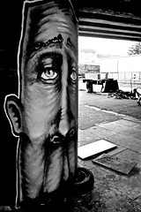 Under the Eastway (I M Roberts) Tags: undertheeastway urbanart urbansetting eastlondon hackney fujix100s bw