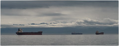 Ships on the Juan de Fuca (westcoastcaptures) Tags: ocean panoramic mountains clouds storm rain pacific royalbay colwoodbc juandefuca olympicmountains