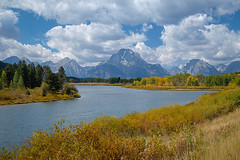 Oxbow Bend (San Francisco Gal) Tags: grandtetonnationalpark oxbowbend autumn sky cloud mountain tree foliage river snakeriver coth5