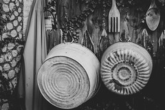 Hanging Things (David Guidas) Tags: wall tubs ornamental metal randyland pittsburgh monochrome blackandwhite stilllife junk old texture fujifilm xpro2