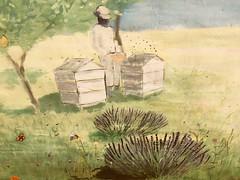 Bee keeping mural. (Bennydorm) Tags: fordpark southlakeland newland bucolic pastoral idyllic verte verde grun green rural pastime hobby inghilterra inglaterra angleterre europe gb uk britain england cumbria furness ulverston septembre september iphone6s colourful hives beekeeping bees painting mural art artwork