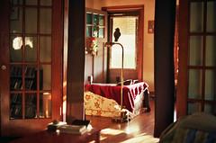 Room to Room (Jetcraftsofa) Tags: nikonf3 nikkorsc5014 kodak ektar100 35mm slr filmphotography availablelight multiplerooms interiors sunset corvuscorvax sunbeams summer natsu