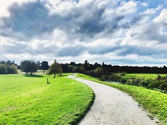 The Painted Sky (semonalarochelle) Tags: beauty natural colours storm beautiful stone bench path cloudscape cloud sky nature green landscape tree park
