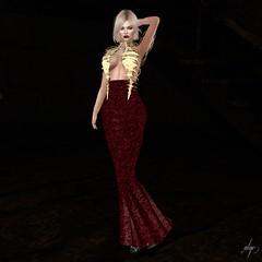 Skeletal (Algezares (III)) Tags: ghee darkness designershowcase secondlife sexy sensual maitreya mesh makeup gown lelutka blonde