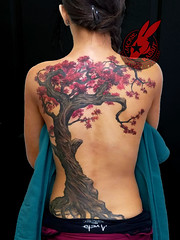 Tree Twisted Back Piece Cherry Blossom Red Flower Fall Leaves Sexy Creepy Real Realistic Best Tattoo by Jackie Rabbit