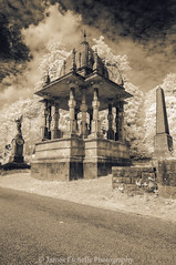 Tomb of Rajah Rammohun Roy II (James Etchells) Tags: arnos vale garden cemetery bristol city urban ir infrared sepia old antique photographic toning effect 18th century eighteenth nikon photography tomb tombs landscape landscapes sky clouds portrait colour color architecture ancient experiment exploring past heritage natural world nature light south west england uk britain monument abandoned overgrown statue
