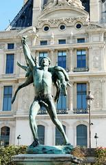 "Bronze sculpture of a hunter - ""Retour de chasse"", by Antonin Carles, 1888 - in the Jardin des Tuileries (Monceau) Tags: jardindestuileries sculpture bronze hunter animal retourdechasse antonincarles"