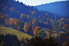 morning view from the window (JoannaRB2009) Tags: morning view landscape hill slope mountains mist fog nature autumn fall trees stronieśląskie dolnyśląsk lowersilesia polska poland
