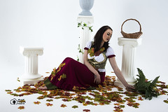 Aisling-IMG_0089 (GolderPhotography) Tags: peasantdress leaves fernsbasket greekcolumns barefooted