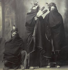 """""""In Winter, Kiowa,"""" 1898.  Platinum Print by Frank A. Rinehart, or his assistant Adolph F. Muhr. In the Smithsonian American Art Museum (lhboudreau) Tags: portrait vintagephoto vintagephotograph frankarinehart adolphfmuhr rinehart muhr frankrinehart adolphmuhr northamericanindian nativeamerican nativeamericans americanindian americanindians indians indian group women squaw blanket blankets winter inwinter kiowa platinumprint smithsonian americanartmuseum 1898 isaacscollection nationalmuseumofamericanart monochrome blackandwhite blackwhite feather feathers cold chill chilly keepingwarm indianblanket indianblankets warmth"""