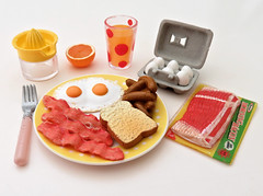 Fun Meals # 4 (MurderWithMirrors) Tags: rement miniature food funmeals mwm eggs bacon sausage orange orangejuice orangejuicer plate fork eggcarton meal dish