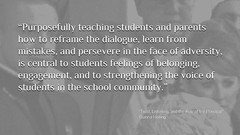 """Educational Postcard: """"Purposefully teaching students and parents how to reframe the dialogue, learn from mistakes, and persevere in the face of adversity, is central to students feelings of belonging, engagement, and to strengthening the voice of student (Ken Whytock) Tags: teaching purposefully students parents reframe dialogue learn mistakes persevere adversity feelings belonging engagement strengthening voiceofstudent school community schoolcommunity"""