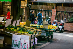 A Beautiful Day for  a Walk (su4jsus) Tags: asia taiwan taipei daan markets flowers water people portraits traditionalmarkets color blackandwhite
