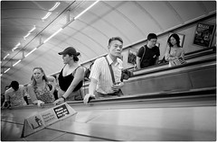 Please Stand on the Right (Steve Lundqvist) Tags: trip viaggio urban depth photography people candid world persone london leica q 2018 traveling documentary england social uk streetphotography china chinese subway metropolitan metropolitana metro underground tube ladder japanese
