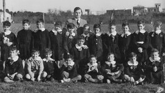 Class photo (theirhistory) Tags: children kids boys school class pupils form group teacher jacket jumper trousers wellies shorts shoes boots