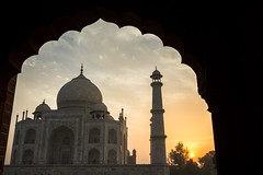 Taj Mahal At Dawn From Archway, Agra India